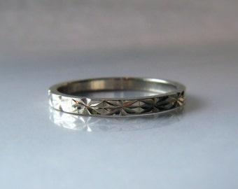 Starburst Wedding Band Hand Engraved 14K White Gold Woman Men Unisex