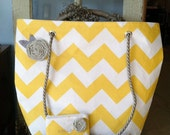 Large Chevron Tote with Custom Handles & Fabric Flower with Matching Coin Purse