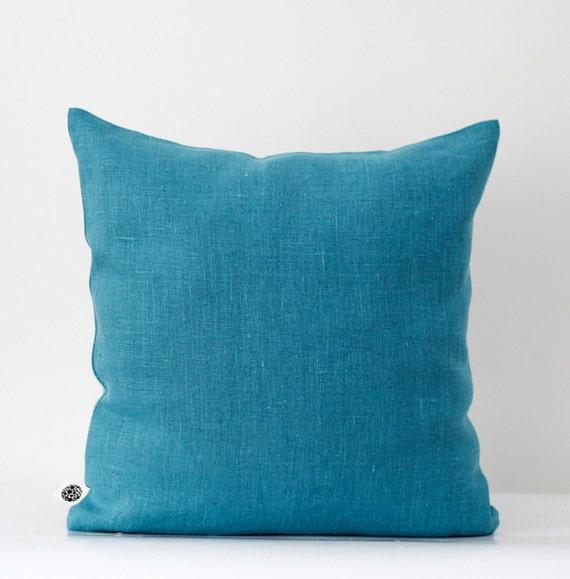 Decorative pillow cover capri blue linen decorative by pillowlink