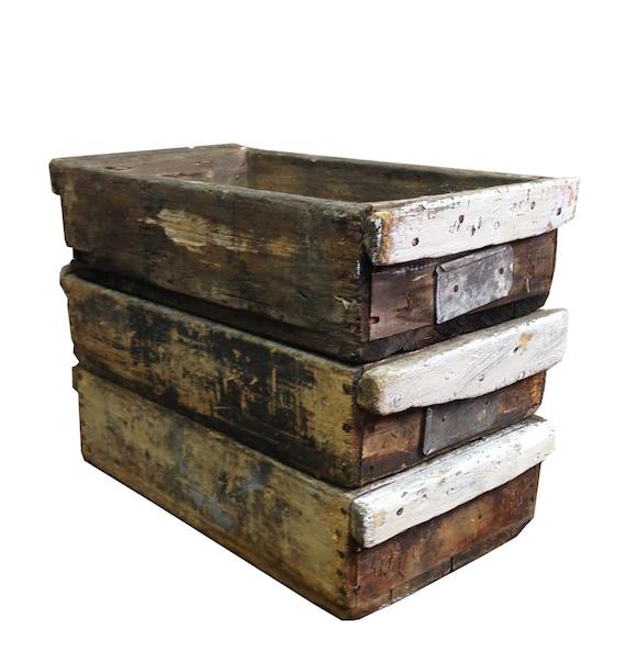 Vintage industrial wooden crate rustic wood storage box for Vintage wooden storage boxes