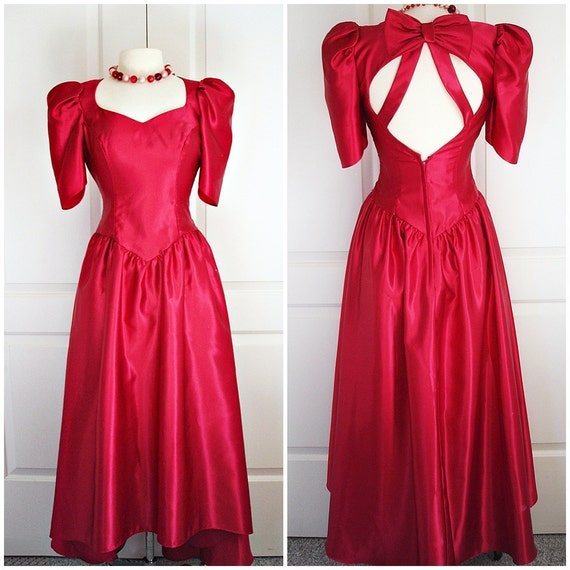 Vintage 80s Party Dress/ Red Satin Prom Gown/ Long Red Dress/