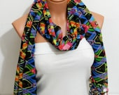 Aztec tribal patterned chiffon infinity scarf circle scarf spring scarf mother's Day,gifts birthday gifts,laser cutting scarf
