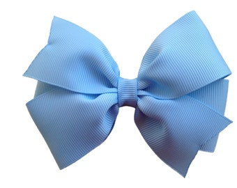 4 inch light blue hair bow - light blue bow
