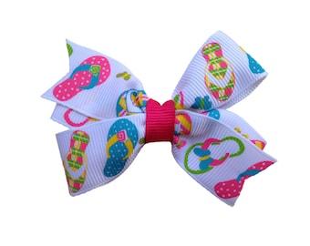 Adorable flip flop hair bow - summer hair bow, 3 inch bow