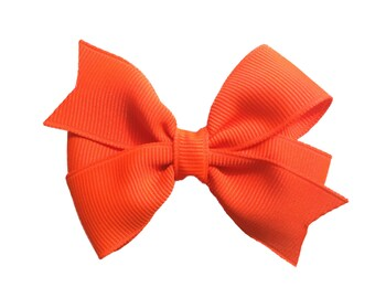 3 inch neon orange hair bow - orange bow, baby bow, toddler bow, girls hair bows, orange hair bow, pinwheel bows, 3 inch bows, girls bows