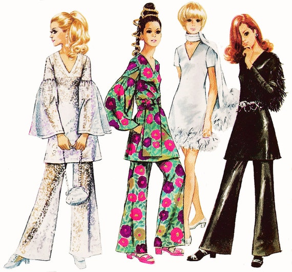 1969 Vintage Bohemian Wardrobe, V-neck Mini Dress or Tunic with 3 Sleeve Options, Bell Bottoms and Scarf/Sash, Simplicity 8548, Bust 38""