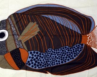 "Fish / Artist Barbara Brenner - 61"" x 34"" Fabric Panel"