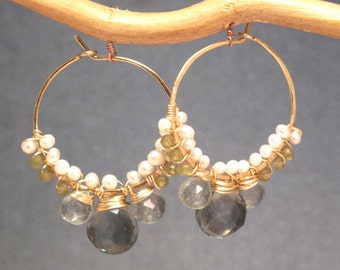Hoop earrings, ivory pearls, green garnet, quartz, gold, silver, rose gold, boho, bohemian, gypsy  Cleopatra 112