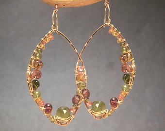 Marquise earrings Peridot, mandarin garnet, orange sapphire, pink tourmaline Luxe Bijoux 185