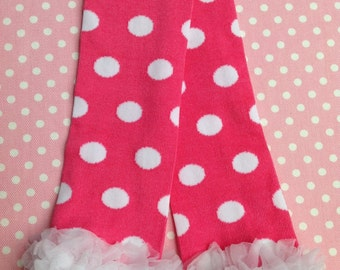 Hot Pink with White Polka Dots and a White Ruffle, Easters Leg Warmers, Infant, Baby, Toddler, Preteen, Arm Warmers, Leggings, Leggins