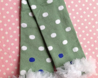 Green with White Polka Dots and a White Ruffle, Easters Leg Warmers, Infant, Baby, Toddler, Preteen, Arm Warmers, Leggings, Leggins