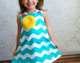 Girl's Teal Chevron Dress - Sizes Newborn to 4T
