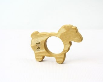 PERSONALIZED / Eco Friendly Wood Teether / Natural Baby Toy