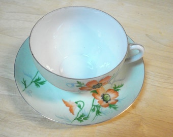 Teacup and Saucer Occupied Japan Handpainted Poppy Pattern