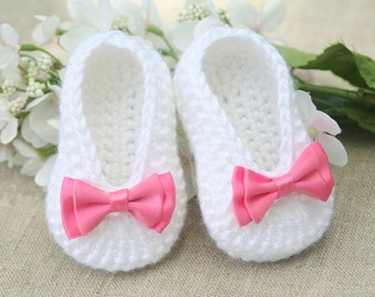 Tutorial Crochet Baby Ballet Booties : Crochet Baby Ballet Shoes Free Pattern