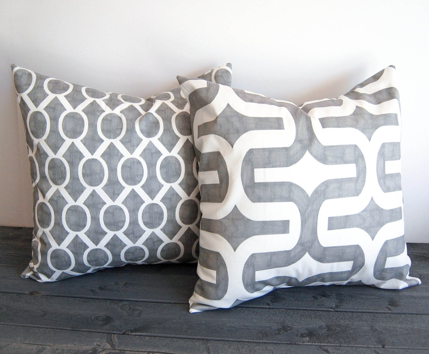 Gray Throw Pillow Covers : Gray throw pillow covers 16 x 16 pair of cushion