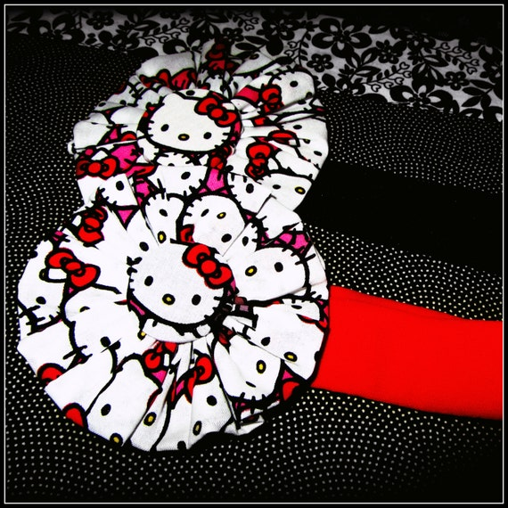 Hello Kitty Stretchy Headband (Choice of Red or Black Stretchy Headband) FREE SHIPPING
