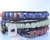 Multiple Gemstone Leather Wrap with Square Hammered Silver Toned Button Closure
