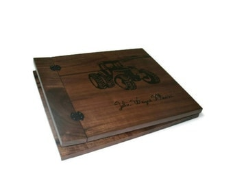 "Baby Boy Tractor Scrapbook  Album Wood Burnt  12"" x 12"" - With Name"