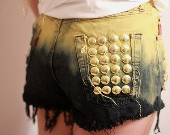 Denim High Waisted Shorts Ombre Vintage Destroyed Jeans Grunge Look Rock n Roll