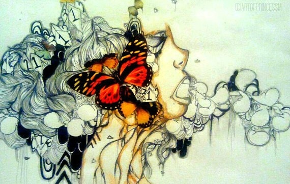 Abstract Butterfly Watercolor Abstract Butterfly Art
