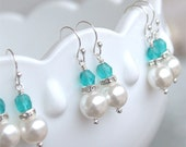 SALE Bridesmaid Earrings - Pearl Dangle Earrings in Silver - Malibu Turquoise Teal Blue Bridesmaid - Beach Wedding