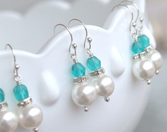 SALE Bridesmaid Earrings - Pearl Dangle Earrings in Silver - Malibu Turquoise Teal Blue Bridesmaid - Beach Wedding