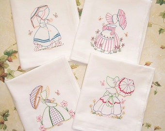 SALE Embroidered Set of 4 Parasol Ladies Kitchen Towels