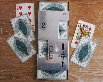 Vintage Bridge Dealer Board, 52 Playing Cards, Retro Leaf Motif with Hearts