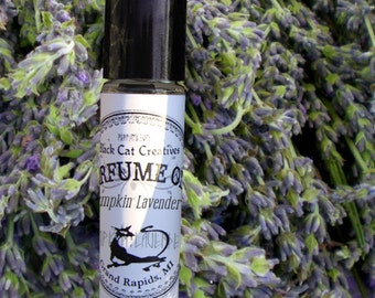 PUMPKIN LAVENDER Perfume Oil - Lavender and Pumpkin Pie  - Intriguing Perfume by Black Cat Creatives