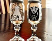 Wedding Redneck Wine Glass Bride Groom Toasting Mason Jar Hillbilly Wine Glasses