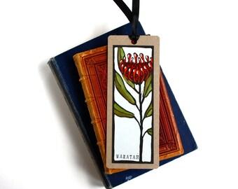 Handpainted Linocut Bookmark - Tasmanian Waratah - Australian Native Flower