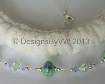 Green Lampwork Glass and Swarovski Crystal Necklace