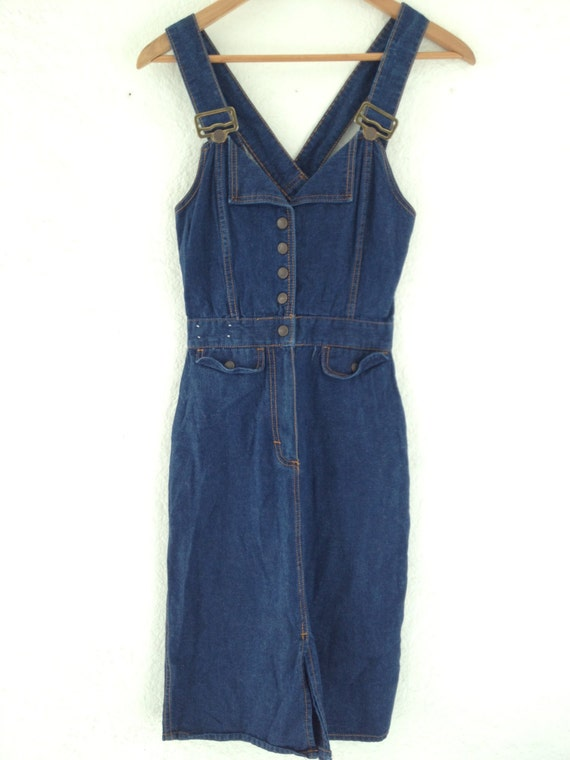 vintage denim overall dress pencil skirt style