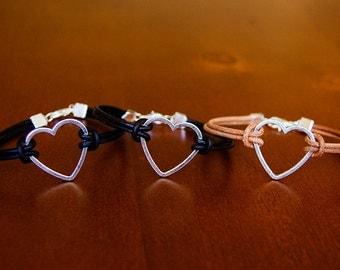 Heart Charm Leather Bracelet