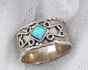 Sterling silver opal ring. Silver ring. Opal ring. Wide ring. Wide silver ring. Wide opal ring. birthday gift, opal jewelry (sr-9561-512)