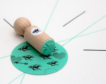 Flying bird Stamp made with mint rubber - mini stamp bird - for her - bird rubber stamp