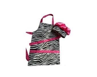 Chef Hat & Apron Set Pink Zebra Print