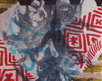 """Archival Print of Original Mixed Media """"Red and Ochre Pattern"""""""