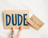 Greeting Card: Laser Cut DUDE card, Father's Day Card with customizable text options