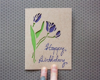 Laser Cut Card: Spring Tulips--Mother's Day, Birthday, Easter Card--Customizable Text Options