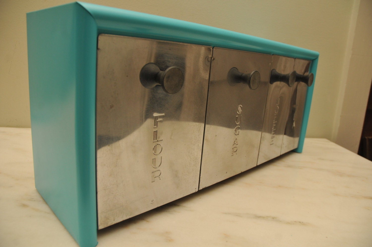 vintage turquoise emco metal kitchen canister set by