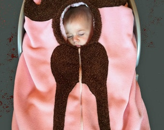 Moose Baby Car Seat Cover... on light pink, Infant Carseat Cover