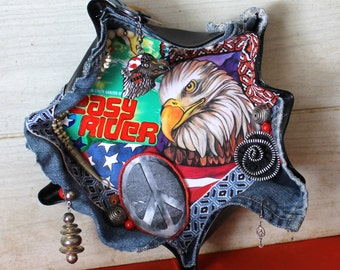 Harley Davidson/ Easy Rider Wall Hanging - Art - Repurposed - Vinyl Record Album Art - Upcycled - Assemblage - Mixed Media - Home Decor