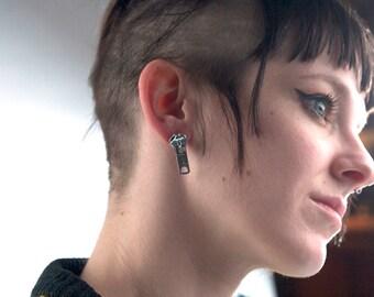 Handmade Silver Zipper Pull Earrings - Post Back