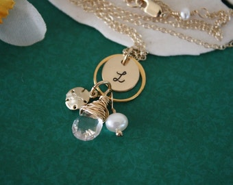 6 Bridesmaid Personalized Necklaces, Bridesmaid Gift, Initial & Gemstone Gold Necklace, Charm Necklace