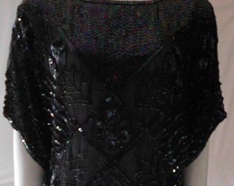 vintage BLACK  Sequin & Bugle Beaded  short Blouse