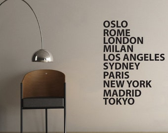 City Names Wall Sticker for office or business | 60 x 100cm / 24 x 39 inches