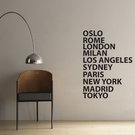 City names wall sticker for office or business 60 x 100cm for Office interior design quotes