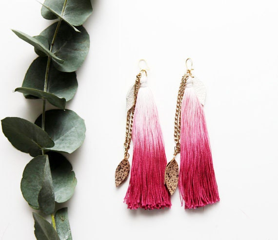 N E V E R  E V E R / Pink & White ombre leather earrings with tassels